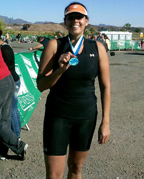 Councilwoman Candida Hunter finishes first in her age division at the 2011 Blue Water Resort and Casino Tri-athalon.