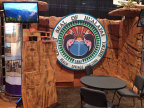 The Hualapai Seal is featured prominently at the Grand Canyon Resort Corporation booth at the 2013 International Pow Wow Trade Show, Las Vegas, NV